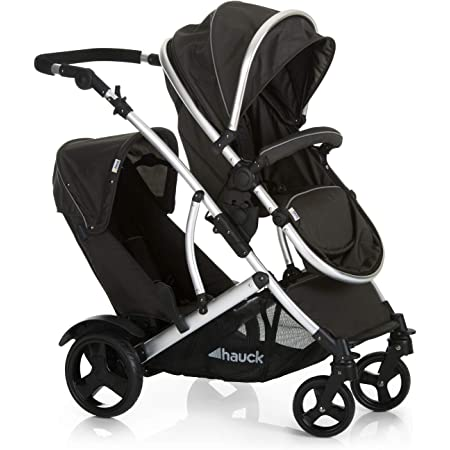 Hauck Tandem Double Stroller Duett 2 / for Newborn and Toddler / Pram Convertible to Reversible Seat / Height-Adjustable Handle / Large Sun Hood / 2 Raincovers / Boot Cover / Black Forest