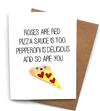 Funny Card for Boyfriend Valentine Card Anniversary Card Pizza Card