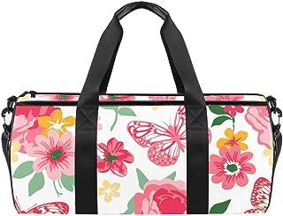 DJROWW Reisetasche aus Segeltuch, Korallenrot und Gelb mit Rosen, Pfingstrosen und Schmetterlingen