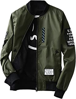 Bomber Jacket Fashion Men Jacket With Patches Both Side Wear Thin Bomber Jacket Flyer Overcoat Cloth Wind Breaker Jacket(green)