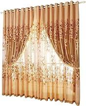 2 قطعة Morning Glory طباعة شفافة من نسيج التل ستائر النوافذ للكبار ديكور غرفة المنزل القهوة