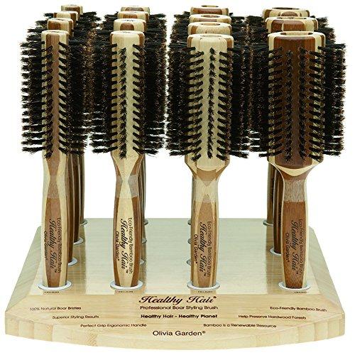 Olivia Garden Healthy Hair Présentoir de 15 Brosses Thermales Rondes en Bambou - Brosses Ecologiques en Bambou, Poils 100% Pur Sanglier