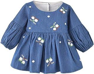 ggudd Niña Bebé Manga Larga Floral Princesa Mezclilla Casual Vestido Ropa por 0-3 años