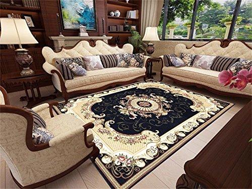 Moquettes tapis et sous-tapis Designer Carpet Style européen Rétro Salon Canapé Table basse Tablette Tapis de lit (Taille: 160 * 230cm Couleur: Noir Marron Rouge) (Couleur : NOIR)