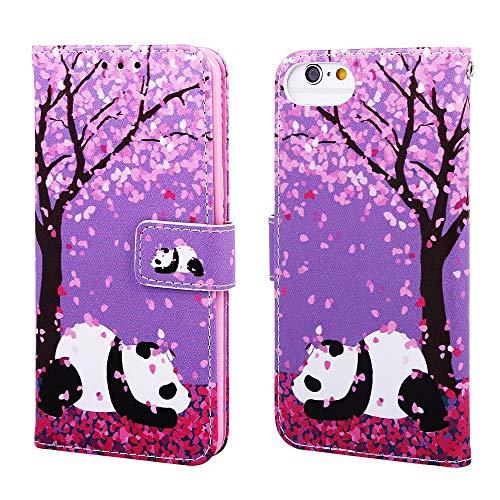 Nadoli Leder Hülle für iPhone SE 2020,Bunt Kirschblume Panda Malerei Ultra Dünne Magnetverschluss Standfunktion Handyhülle Tasche Brieftasche Etui Schutzhülle