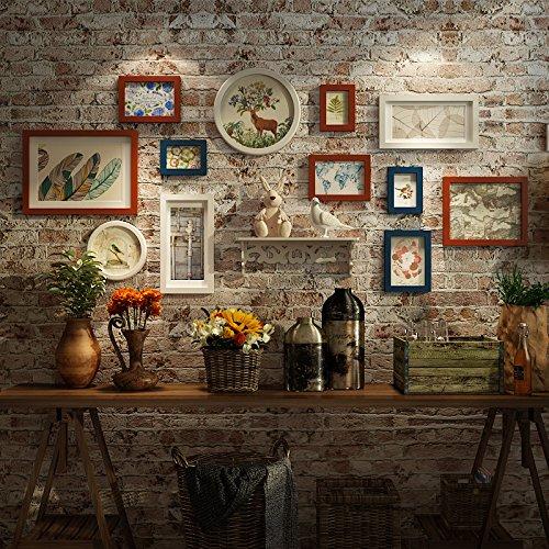 American Style bois massif à la dans le salon chambre intégré Étagère murale Restaurant photo créative photo rétro mural Combinaison. que M., blanc, bleu