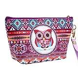 Monbedos Bolso de maquillaje para mujer, diseño de búho, pequeño, impermeable, con forma de viaje, bolsa de tocador, bolsa multicolor
