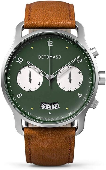 Detomaso partenza green - orologio da polso da uomo, analogico, al quarzo, cinturino in pelle italiana marrone D01-01-01