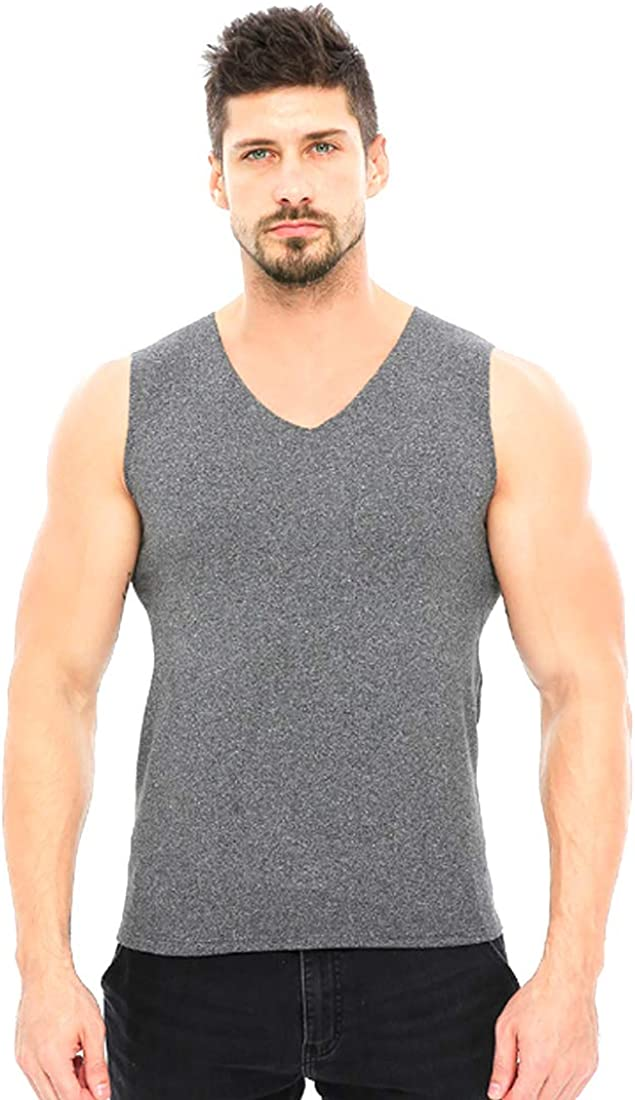 Inlefen Men's Thermal Tops V Neck Soft Warm Seamless Man Thermal Vest Light Grey