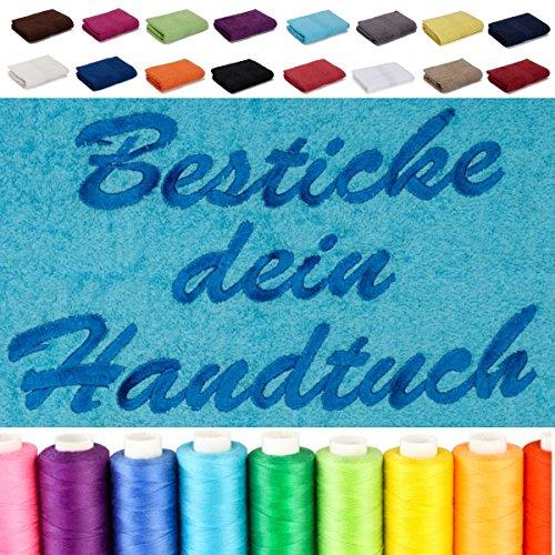 Besticken Sie Handtuch mit Namen oder mit Wunschtext bestickt, Handtuch (50x100cm) in Anthrazit-Grau