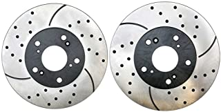 Prime Choice Auto Parts PR41259LR Front Set 2 Drilled Slotted Performance Brake Rotors 5 Stud