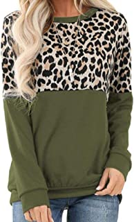 UUGYE Women's Long Sleeve Shirt Fashion Leopard Print Baggy Colorblock Top Blouse