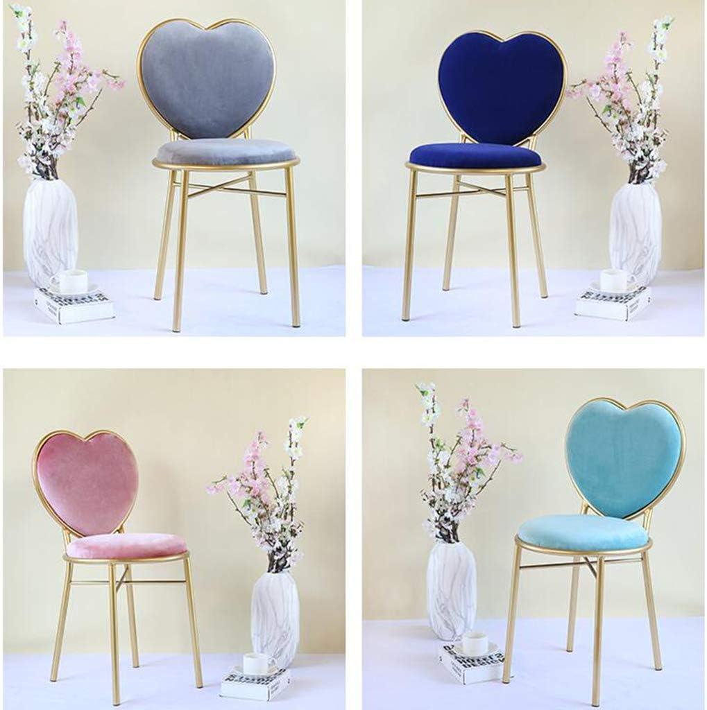 Chaise de Maquillage en métal, Chaise de Dossier de Coiffeuse Chaise de Salle à Manger Chaise de Coiffeuse à la Maison Chaise de Salon de Restaurant Chaise de café,Pink Lightblue