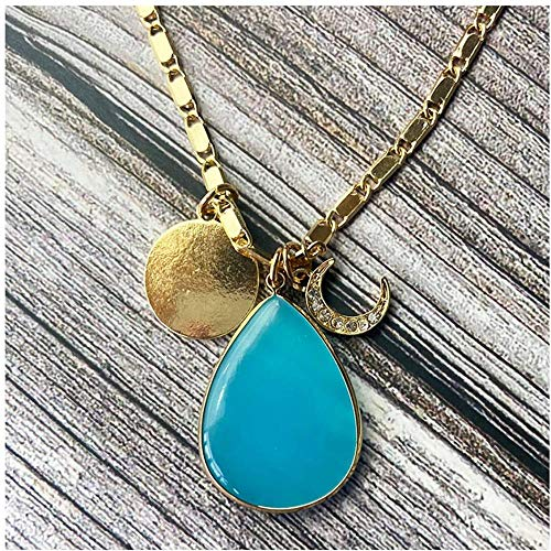 NC188 Elegant Charming Crystal Moon Glass Stond Teardrop Pendant Necklace Fashion Chains Disc Charm Necklace for Women
