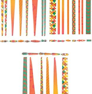 Beading Strips- Retro Theme - Cylindrical, Round and Cone Beads - Mega Pack - DIY for Making Jewellery, Wrist Bands and Other Fun Paper-Craft Projects (360 Beads Pack) (Retro)