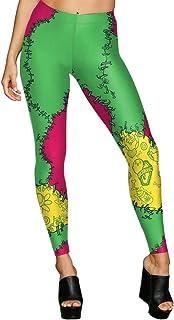 Man&Y の女性のレギンスの3Dプリントフラワースケルトンのパッチレギンス女性のヨガレギンスのためのレギンスヨガのパンツのタイツ (Color : Green, Size : S)