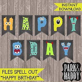 AprilLove Little Monster Birthday Banner Chalkboard Printable. Monster Party. Monster Decorations. / UNFRAMED Poster