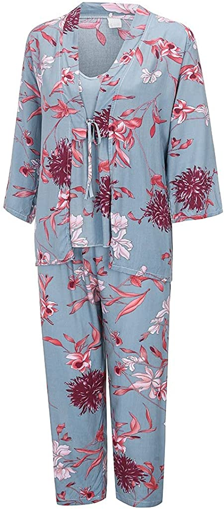 HUOJING Satin Silk Pajamas Sets for Women Flower Print Relaxed Lingerie Sleepwear Night Robes Cami Tops Pants