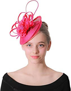 Elegant Women Fascinators Hat, Flower Mesh Ribbons Wedding Headband Tea Party Cocktail Ball Church Hair Clip Headwear