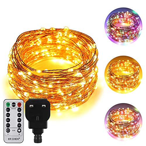 ErChen Dual-Color LED String Lights, 100 FT 300 LEDs Plug in Copper Wire 8 Modes Dimmable Fairy Lights with Remote Timer for Indoor Outdoor Christmas (Multicolor/Warm White)