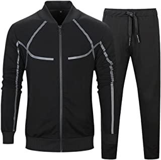 Men's Full Zip Tracksuit Set Casual Jogging Athletic Sweat Suits