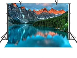 FUERMOR 7x5ft Mountains Forest Lake Photography Backdrop Photo Props Pretty Nature Scenery Background Room Mural XCFU080