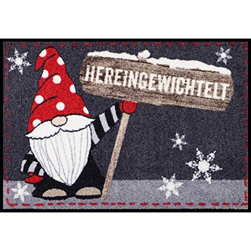 Salonloewe Design-deurmat knud wasbaar 50x75 cm vuilvangmat binnen + buiten grappig motief-deurmat en schoonloopmat, kerstvoetmat, kleur: antraciet-rood