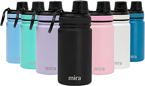 MIRA 12 oz Stainless Steel Sports Water Bottle   Metal Thermos Flask Keeps Cold for 24 Hours, Hot for 12 Hours   Wide...