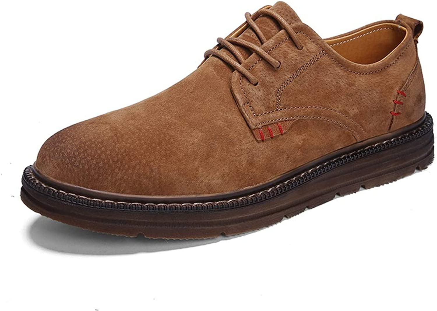 CHENDX shoes, Men's Fashion Round Toe Lace-up Oxford Casual Classic Simple Retro Formal shoes (color   Brown, Size   8 UK)