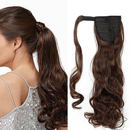 Ponytail Clip in Pferdeschwanz Extension Haarteil Haarverlängerung Zopf Hair Piece gewellt Wavy wie Echthaar Mittel braun Wavy-17