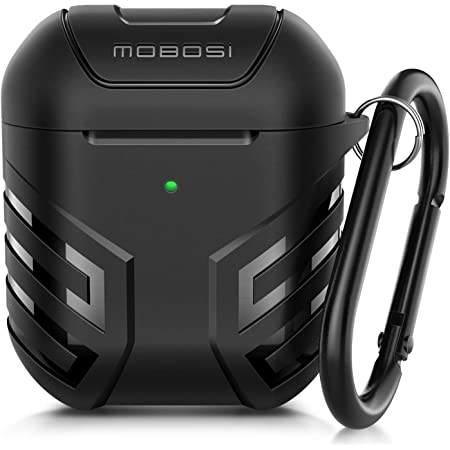 MOBOSI Military AirPods Case Cover Designed for AirPods 2 & 1, Full-Body Protective Vanguard Armor Series AirPod Case with Keychain for AirPods Wireless Charging Case, Black [Front LED Visible]