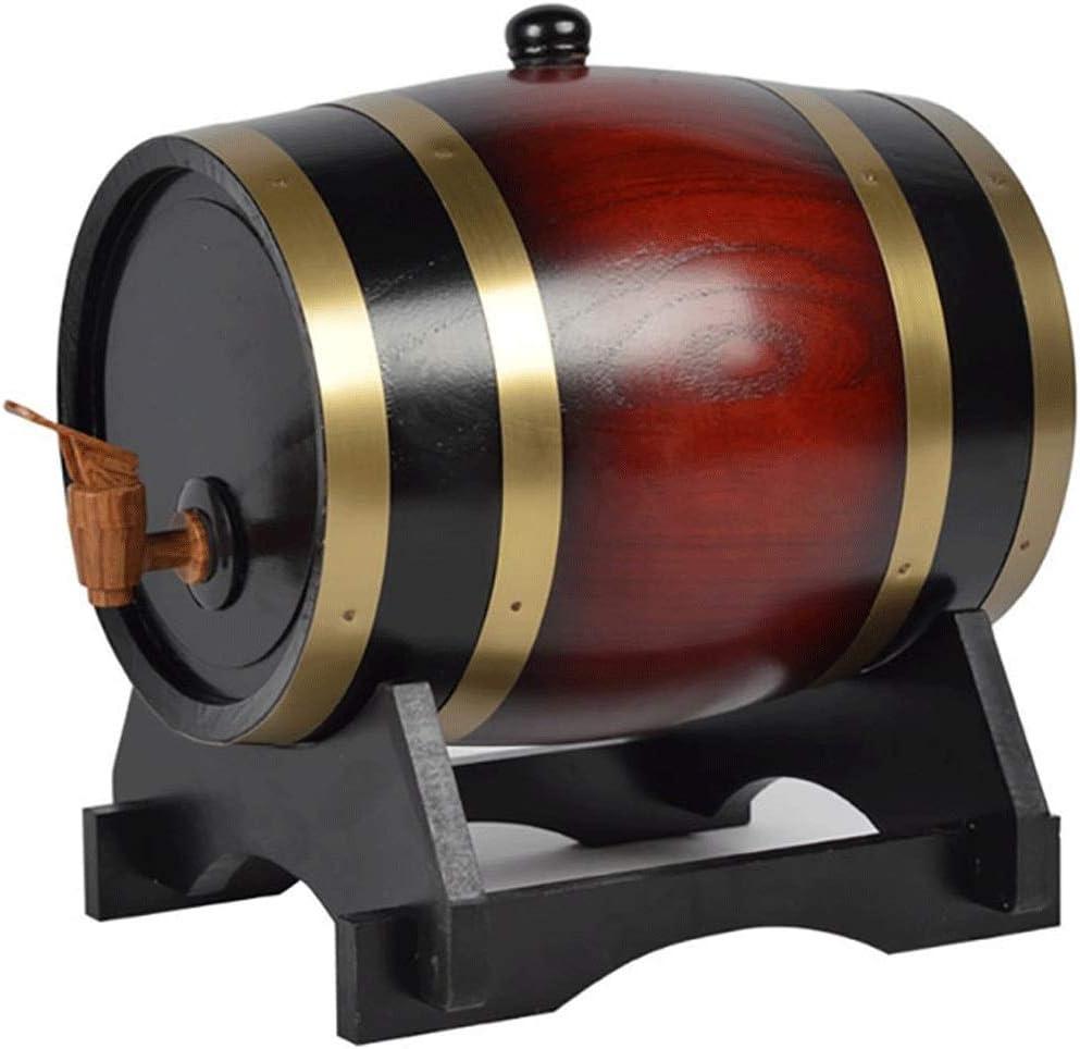 LPLND Barril de Vino Barril de Vino de Madera de Roble Vintage, Dispensador de Agua de Barril de Roble, for Cerveza, Whisky, Ron, Puerto, Barril, Almacenamiento (Color : C, Size : 5L)