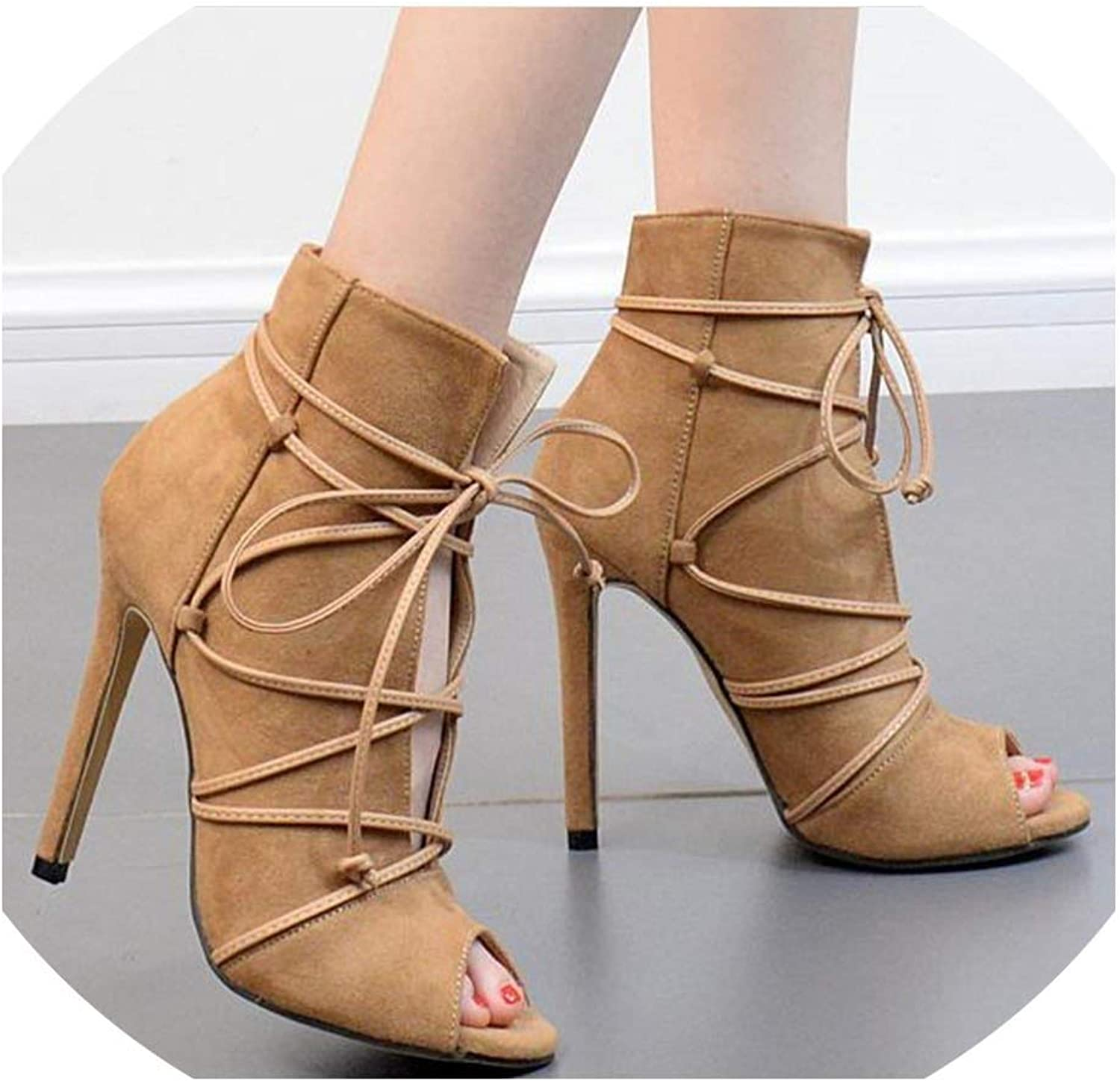 Hollow Sexy Cross Straps Stiletto Fish Head shoes