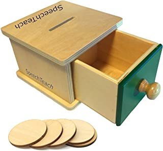 SpeechTeach Wooden Montessori Toy Object Permanence Box for Infant, Coin Box Toy for Toddlers and Babies, Object Permanence Perfect for 2, 3, and 4 Year Olds, Comes with 5 Coins