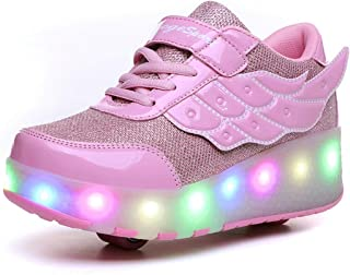 ZCOINS Boy Girl Roller Shoes with Light Flashing Wheels Skate Sneaker for Kids Teens