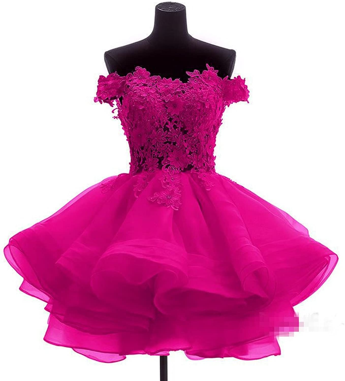 DKBridal Women's Off Shoulder Lace Appliques Homecoming Dresses Organza Short Prom Gown