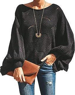 OrientalPort - Maglione da donna con scollo a barche e ali Nero M