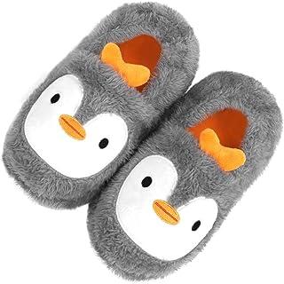 Boys Girls House Slippers Toddler Kids Cute Cartoon Fluffy Fleece Plush Home Slippers Winter Warm Non-Slip Slip on Indoor/...