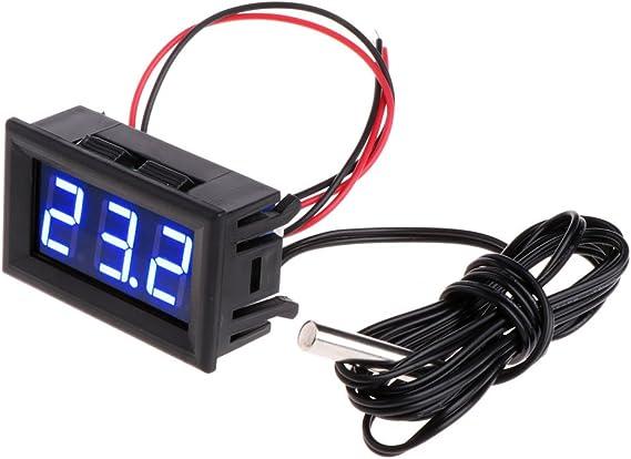 Fogun 50 110 C Dc 12 V Digital Led Thermometer Auto Temperaturanzeige Panel Meter Blau Baumarkt
