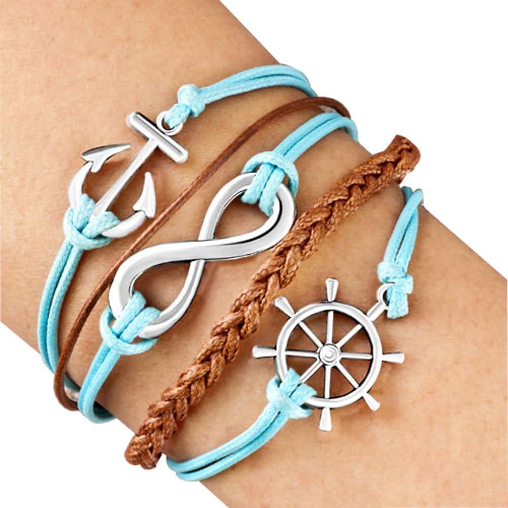 LovelyJewelry Wheel Anchor Infinity Bracelet Braided Leather Rope Cuff Bracelet Bangle for