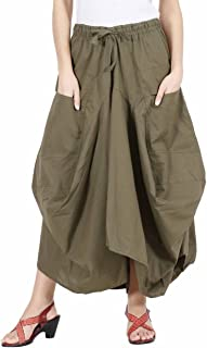 Womens Girls Cotton Ankle Length Casual Long Skirt - 2 Pockets - Balloon Style