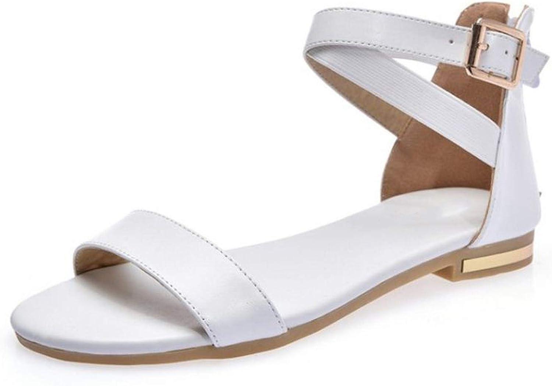 Women Flats Sandals Real Leather Zipper Open Toe Women Sandals Footwear Size 33-42