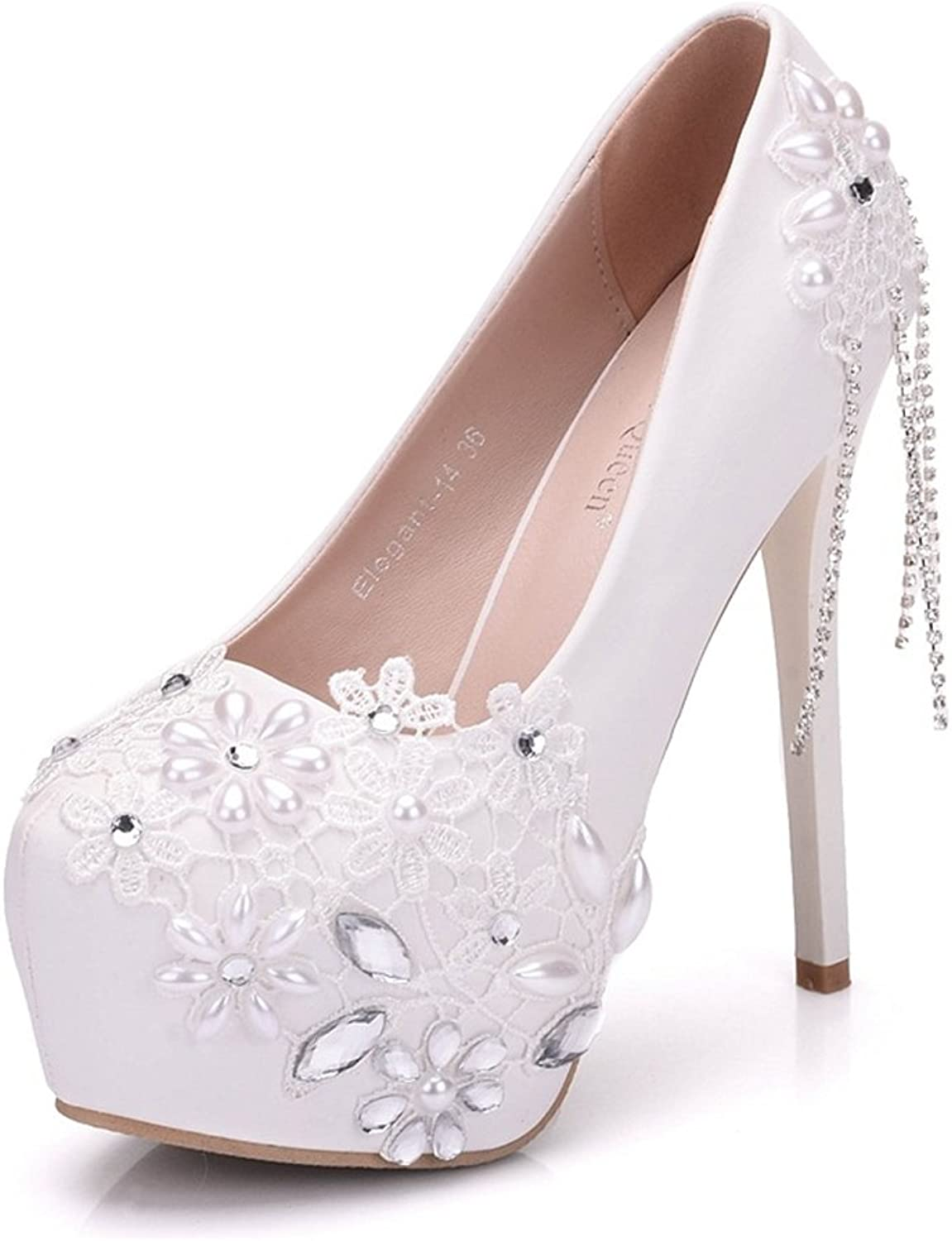 SUNNY Store White Pearl Lace Wedding shoes Bridal Bridesmaid High Heels Platform Pumps