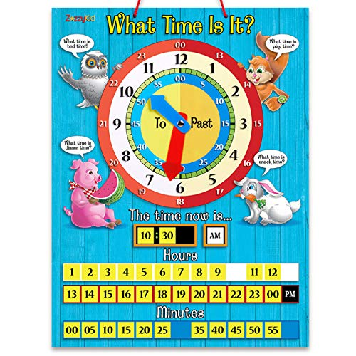 ZazzyKid Tell Time Teaching Clock for Kids: 12.6 x 16.5 inches Board with Magnetic Game Numbers