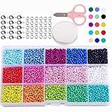 MEIRUIER 7500 Cuentas de Colores 3mm Mini Cuentas de Cristal para los niños DIY Bracelet Arte y joyería-Making, Cadena de Cuentas de fabricación de Juego, Fadeless Color (15 Color)