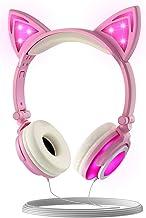 هدفون بچه های سیمی Olyre با میکروفون ، میزان صدای 85db کنترل صدای استریو تاشو LED Cat Kitty هدست هدیه برای دختران / پسران / زنان / نوجوانان سازگار با رایانه لوحی PC تلفن هوشمند iPad (صورتی)