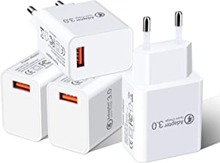 European Travel Plug Adapter, Besgoods 4-Pack QC 3.0 Wall Charger Block Travel Charger Adapter Compatible with Samsung Galaxy S8 S9/ Note 8, iPhone, iPad, LG G6/V30, HTC 10 and More - White