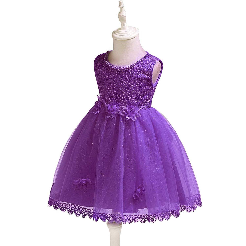 XFentech キッズウエディングプリンセスドレス - ベビーガールウェディングブライドメイドの誕生日パーティーフラワービーズのドレス