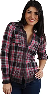 Brandy Button Down Western Floral Embroidered Shirt in Red Black Plaid