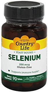 Country Life Selenium 200 mcg - 90 Tablets | Supports Immune Health | Yeast-Free